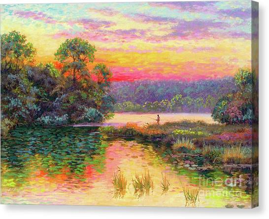 Louisiana Canvas Print - Fishing In Evening Glow by Jane Small