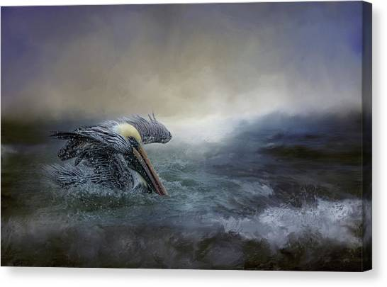 Fishing In The Storm Canvas Print