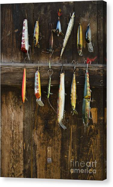 Indoors Canvas Print - Fishing Lure Hanging On Wall, Sandham by Bmj