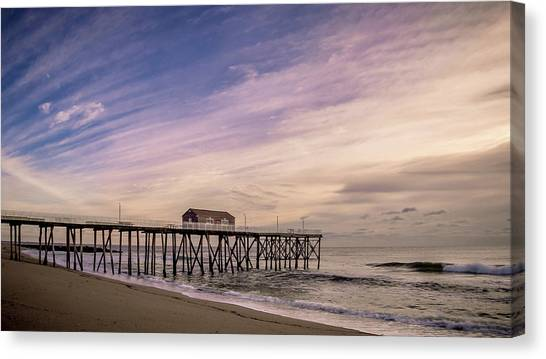 Canvas Print featuring the photograph Fishing Pier Sunrise by Steve Stanger