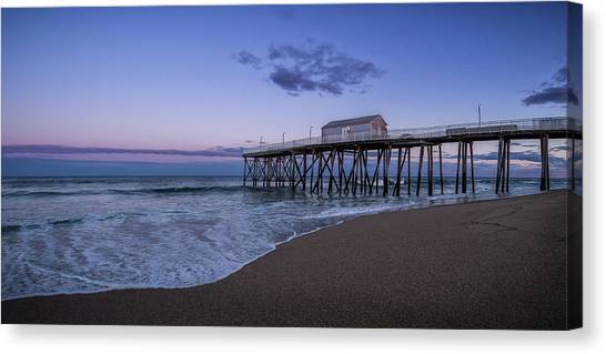 Canvas Print featuring the photograph Fishing Pier Sunset by Steve Stanger