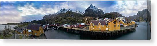 Fishing Village A On Lofoten Canvas Print