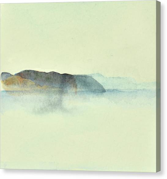 Fiske I Morgondis Hunnebo Vaestkusten   Fishing In Morning Haze Hunnebo Swedish Archipelago 76x73cm  Canvas Print
