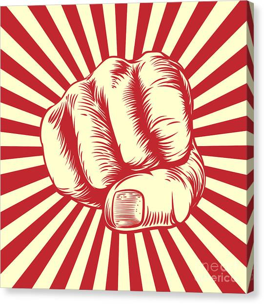 Block Canvas Print - Fist Punching In A Vintage Propaganda by Christos Georghiou