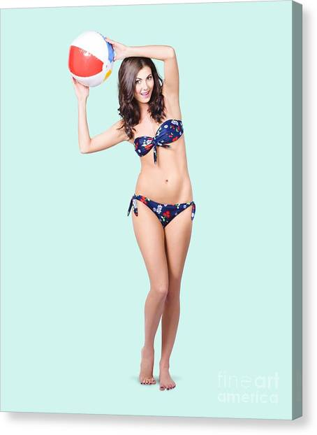 Volleyball Canvas Print - Fit And Active Girl In Bikini With Beach Ball by Jorgo Photography - Wall Art Gallery
