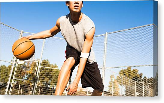 Basket Canvas Print - Fit Male Playing Basketball Outdoor by Pkpix