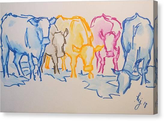 Five Cows Five Colors Watercolor Line Drawing Canvas Print