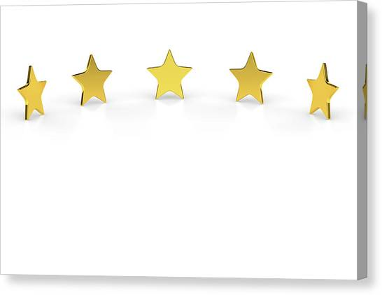 Five Golden Stars On White Background Canvas Print by Bjorn Holland