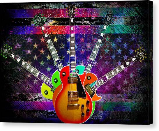 Five Guitars Canvas Print