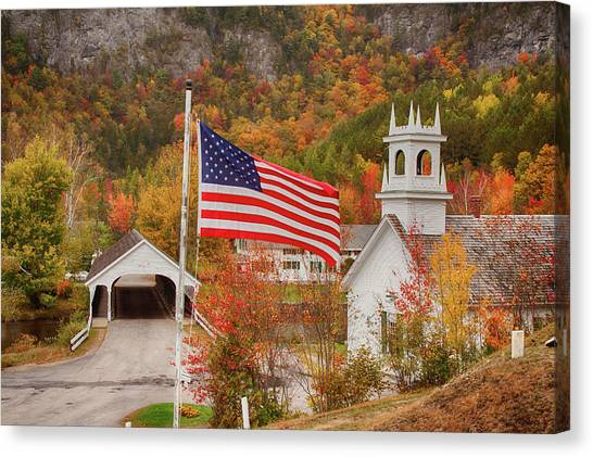 Flag Flying Over The Stark Covered Bridge Canvas Print