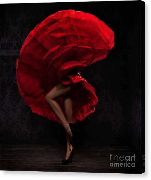 Performing Canvas Print - Flamenco Dancer by Conrado