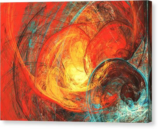 Background Canvas Print - Flaming Sun. Abstract Painting Texture by Excellent Backgrounds
