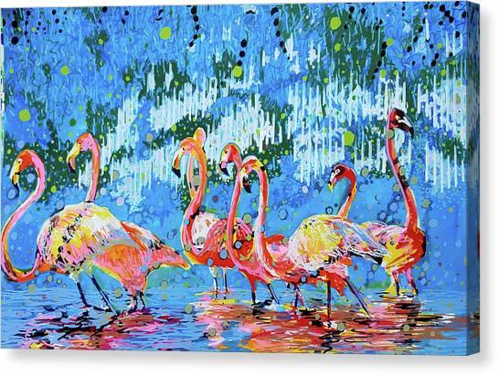 Flamingo Pat Party Canvas Print