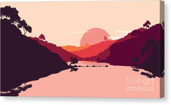 Shadow Canvas Print - Flat Landscape Of Mountain, Lake And by Miomart