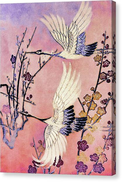 Canvas Print featuring the tapestry - textile Flight Of The Cranes - Kimono Series by Susan Maxwell Schmidt