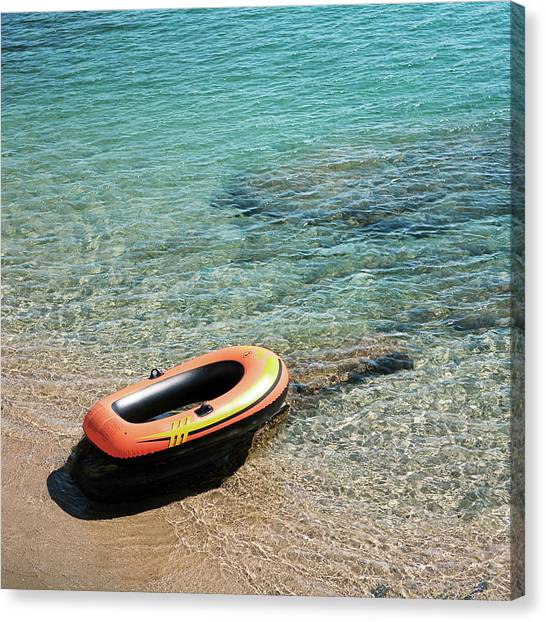 Floating Raft At Sea Canvas Print