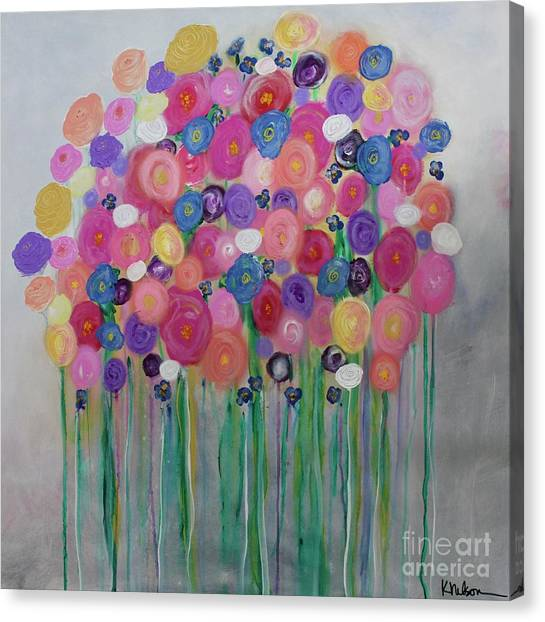 Floral Balloon Bouquet Canvas Print