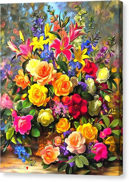 Floral Bouquet In Acrylic Canvas Print