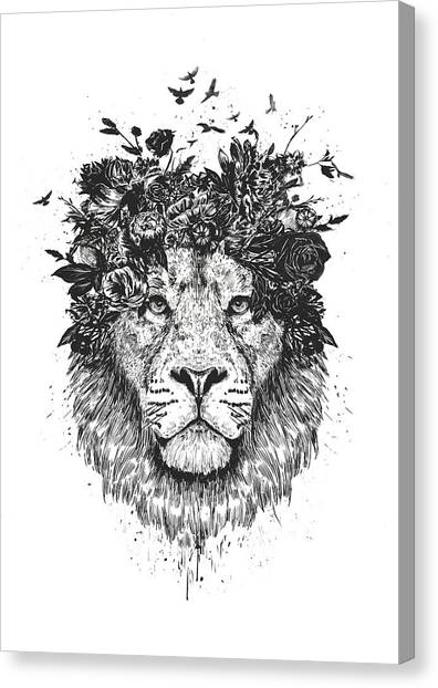 Spring Canvas Print - Floral Lion by Balazs Solti