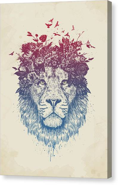 Spring Canvas Print - Floral Lion IIi by Balazs Solti