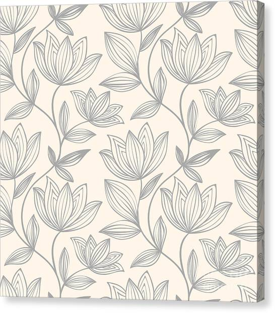 Grey Background Canvas Print - Floral Seamless Pattern Can Be Used For by Mespilia