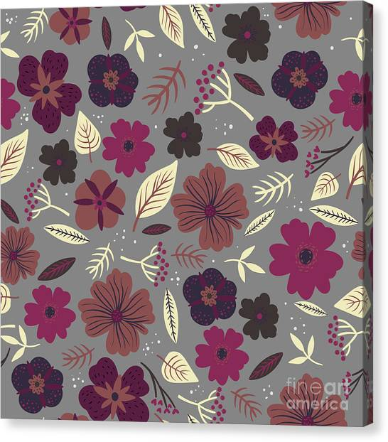 Imagery Canvas Print - Floral Seamless Pattern. Colored by Maria Sem
