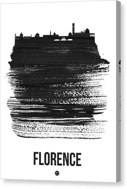 Florence Canvas Print - Florence Skyline Brush Stroke Black by Naxart Studio