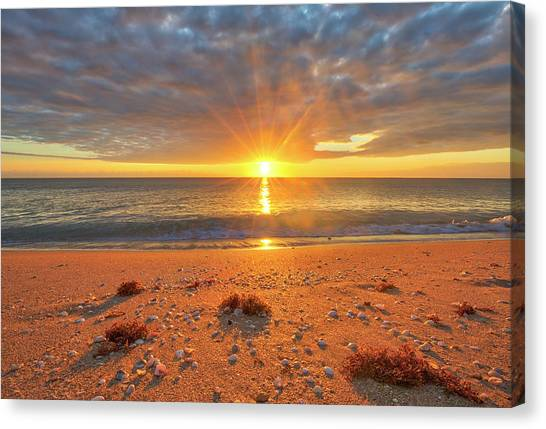 Canvas Print featuring the photograph Florida Sunrise At Delray Beach by Juergen Roth