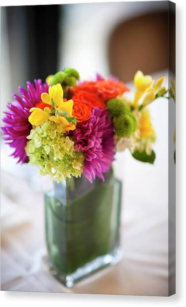 Wedding Bouquet Canvas Print - Flower Arrangement On Table At Wedding by Ikonica
