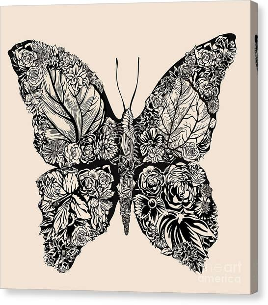 Botany Canvas Print - Flower Butterfly by Ryger