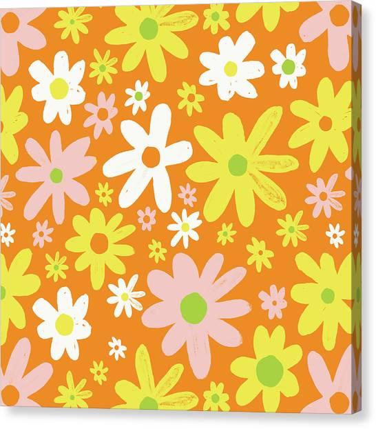 Flower Power Pattern Canvas Print
