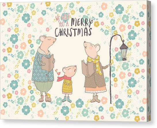 Canvas Print - Flower Up Christmas Mice II by Amanda Lakey