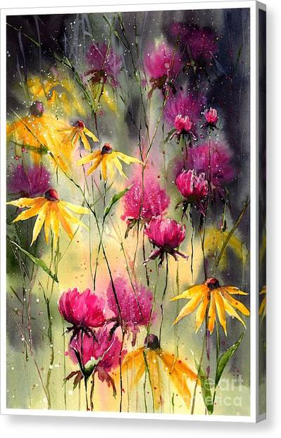 Jerusalem Canvas Print - Flowers In The Rain by Suzann Sines
