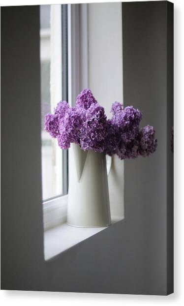 Vase Of Flowers Canvas Print - Flowers On Sill by Coco Am