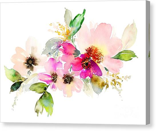 Botany Canvas Print - Flowers Watercolor Illustration. Manual by Karma3