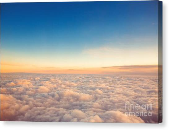 Atmosphere Canvas Print - Flying Above The Clouds. View From The by Valentin Valkov