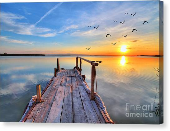 Flying By The Lake Canvas Print by Kesipun