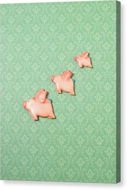 Flying Pig Ornaments On Wallpapered Canvas Print