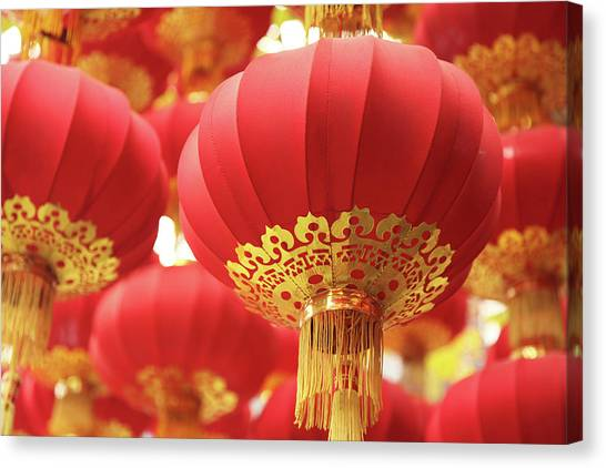 Chinese New Year Canvas Print - Focused Shot Of Group Of Red Chinese by Uschools
