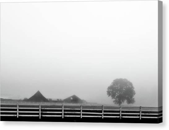 Fog And The Farm Canvas Print