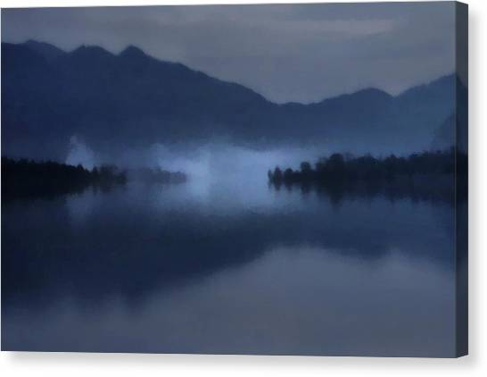 Fog On The Dark Mountain Lake Canvas Print