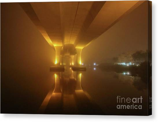 Canvas Print featuring the photograph Foggy Bridge Glow by Tom Claud