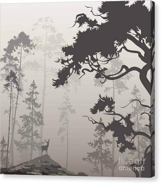 Imagery Canvas Print - Foggy Landscape With Silhouette Of by Eva mask