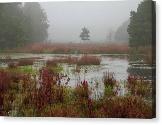 Canvas Print featuring the photograph Foggy Morning At Cloverdale Farm by Kristia Adams
