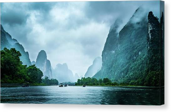 Canvas Print featuring the digital art Foggy Morning On The Li River  by Kevin McClish