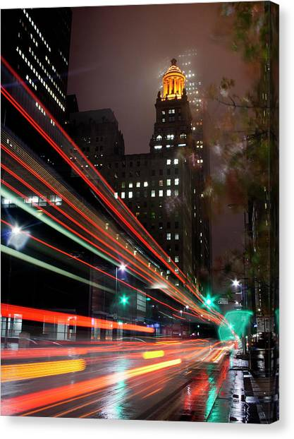 Foggy Night, City Lights Canvas Print by Bill Barfield