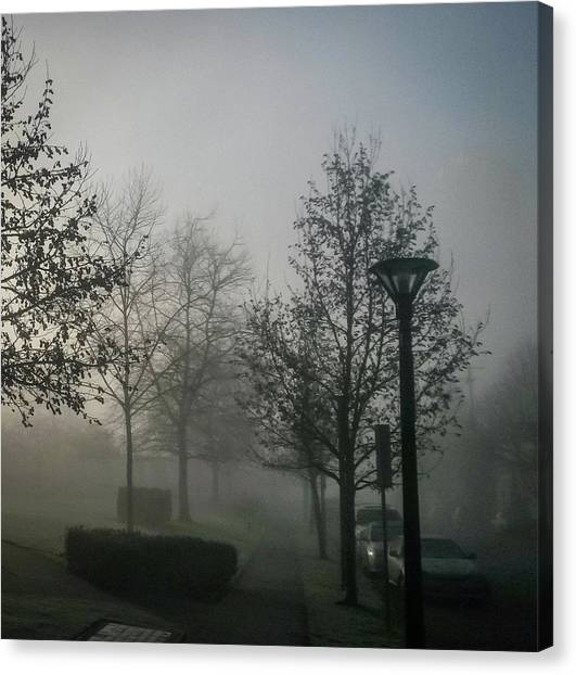 Canvas Print featuring the photograph Foggy Street by Juan Contreras