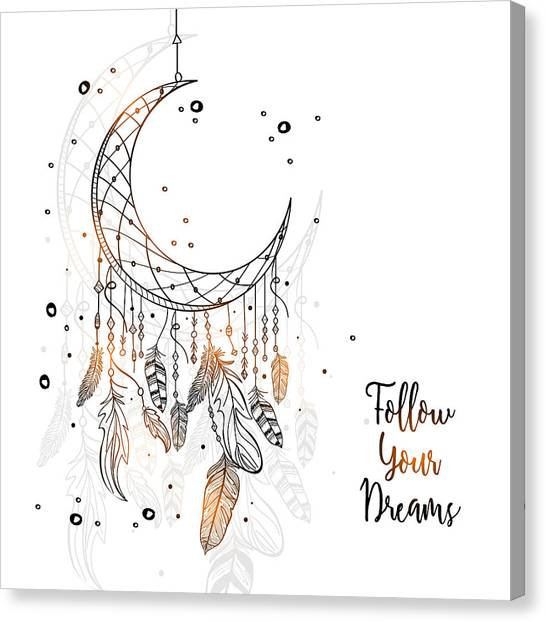 Follow Your Dreamcatcher - Boho Chic Ethnic Nursery Art Poster Print Canvas Print