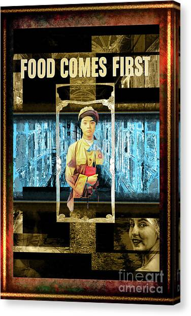 Food Comes First Canvas Print by John Groves