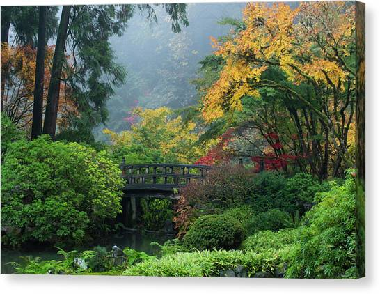 Canvas Print - Footbridge In Japanese Garden by Panoramic Images